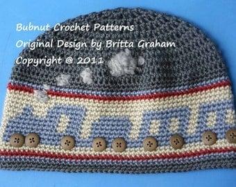Crochet Hat Pattern - Boys Choo Choo Train Hat Pattern No.402 uses DK (AUS 8ply) weight yarn