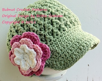 Crochet Hat Pattern - Newsboy Cap Crochet Pattern No.207 SEVEN Sizes Digital ePattern Downloadable