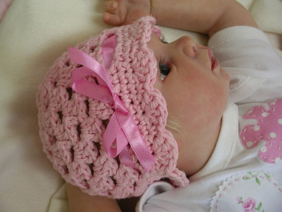 Crochet Hat Pattern Easy Peasy Ribbon and Shells Baby Hat