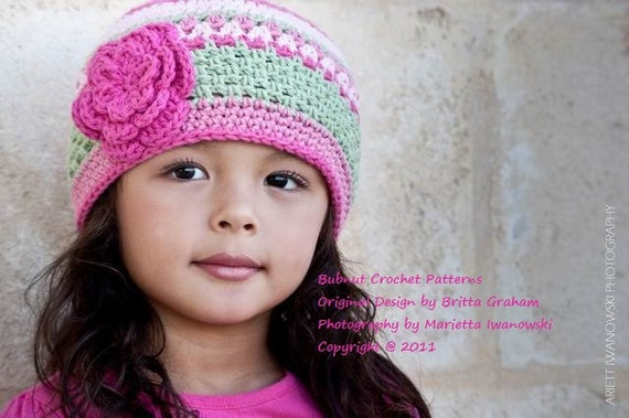 Girls Hat Crochet Pattern - Pretty in Pink Beanie No.P114 Baby Toddler and Child Sizes Digital Download