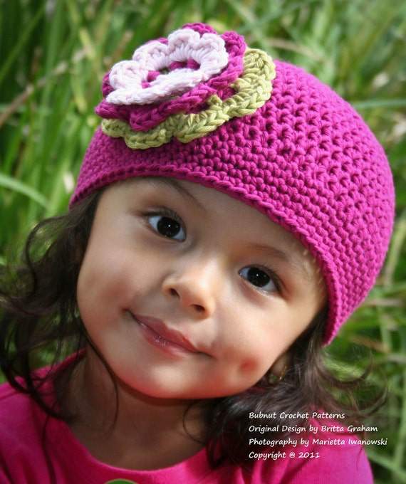 Easy Peasy Crochet Hat Patterns : Items similar to Crochet Hat Pattern - Girls Easy Peasy ...