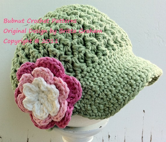 Crochet Hat Pattern - Textured Newsboy with Visor Crochet Pattern No.207 SEVEN Sizes Emailed2U