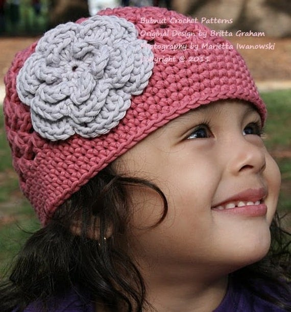 Easy Crochet Flower Hat Pattern : Crochet Hat Pattern Flower Power Cap Crochet Pattern No.201