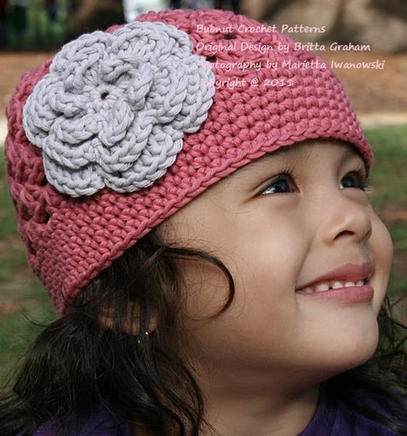 Crochet Hat Patterns Flowers : Crochet Hat Pattern Flower Power Cap Crochet Pattern No.201