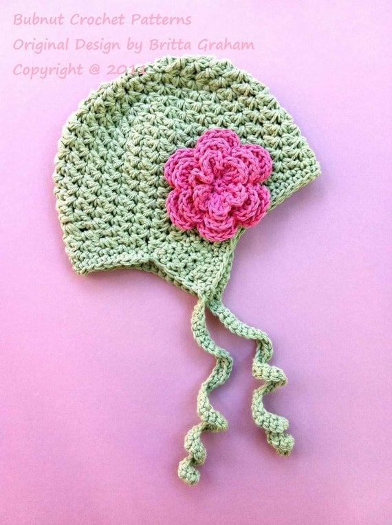 Crochet Baby Hat With Ties Pattern : Baby Crochet Hat Pattern - Bumpy Earflapper with swirly ...