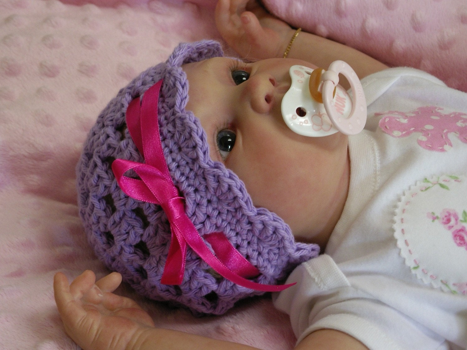 Crochet Baby Hat Pattern Easy Peasy Ribbon and by ...