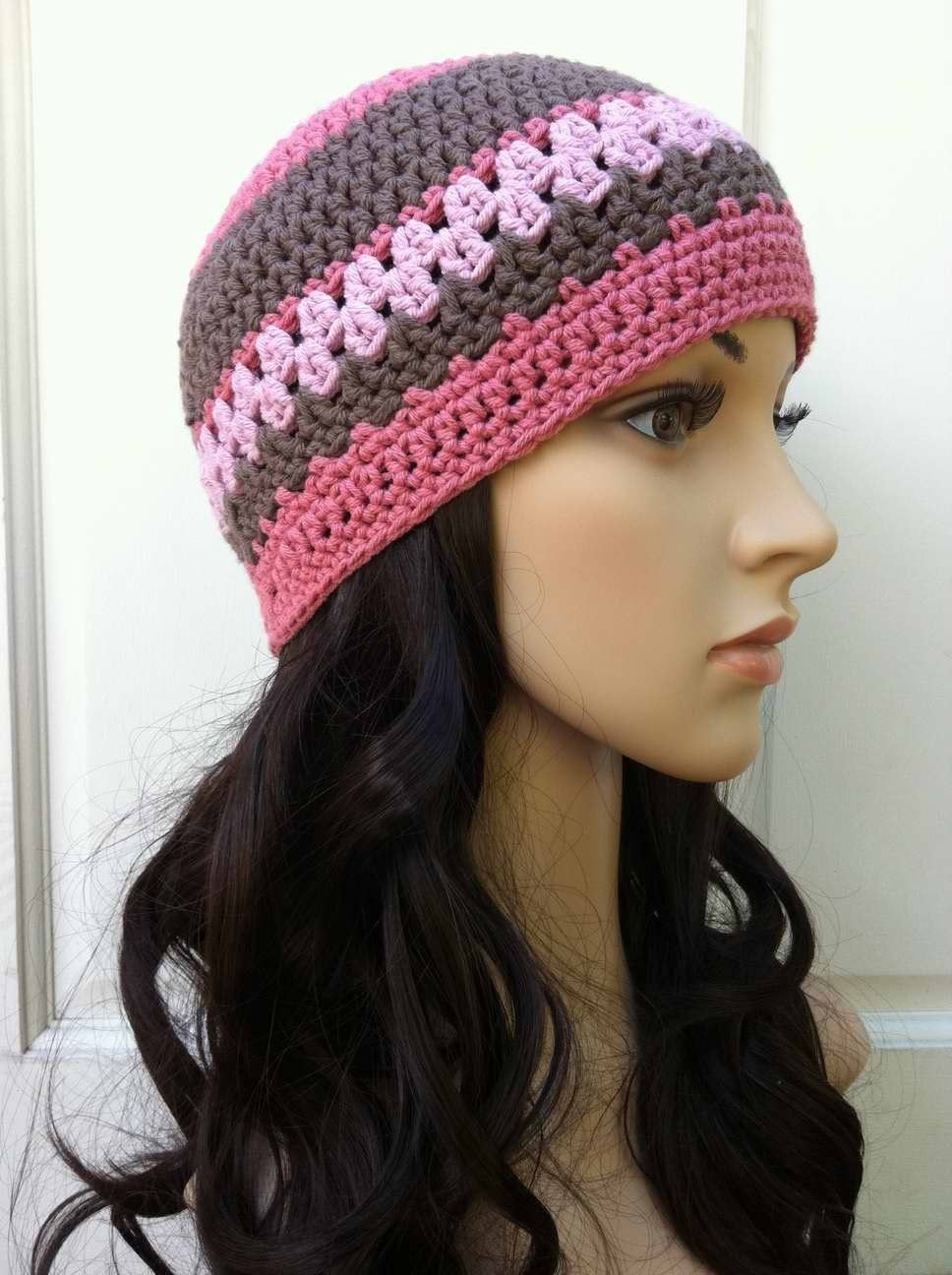 Free Crochet Pattern For Ladies Beanie Hat : Ladies Crochet Hat Pattern Womens Beanie Pattern No.208