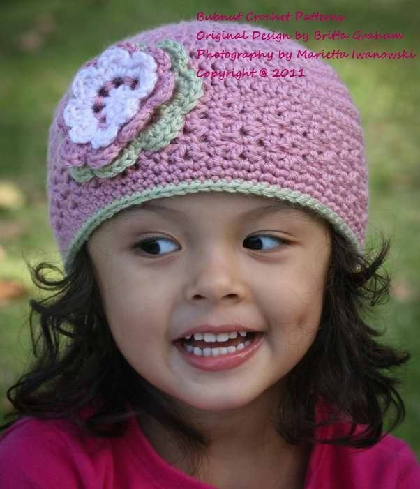 Crochet Beanie Pattern For Child : Girls Blossom Beanie Crochet Hat Pattern No.202 Baby to adult