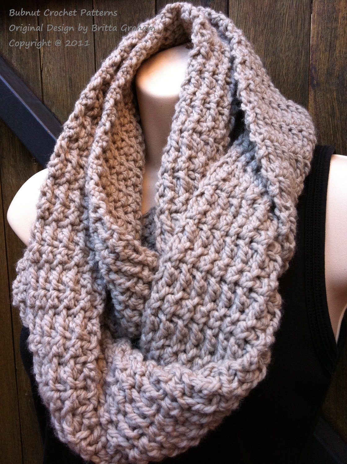 Scarf Crochet Pattern No. 502 Easy Peasy Infinity Cowl