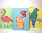 Tropical Kitsch card trio