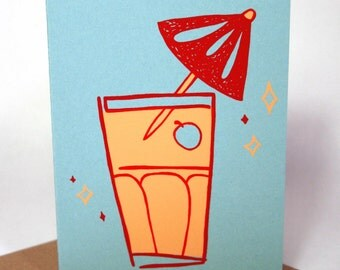 Cocktail Screen Printed card - Recycled Card - Cocktail Card