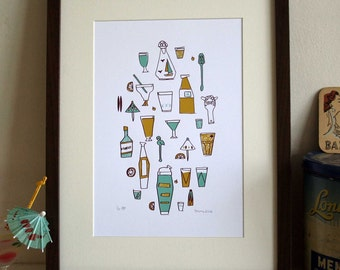 Cocktails screen print
