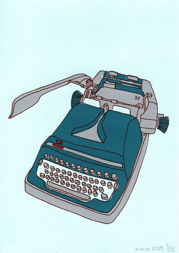 blue typewriter screen print