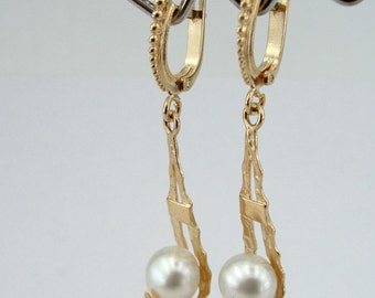 Fresh water Pearl - 14K Gold plated long hanging Earrings - Mother's day gift