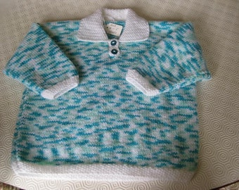 Turquoise and white collared sweater