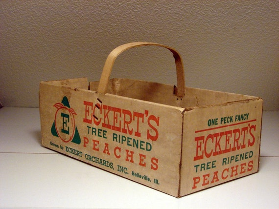 Eckert's Peach Crate one peck cardboard paper wood orange green cream white