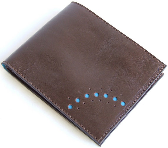 Brown leather wallet with plain sky blue lining cards coins