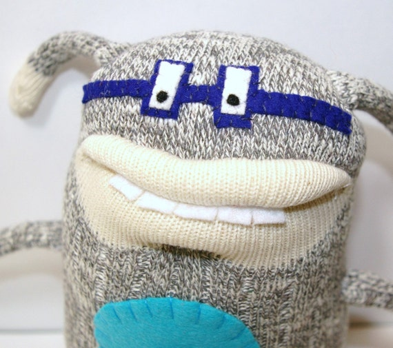 GENE - Handmade Sock Monster with Glasses