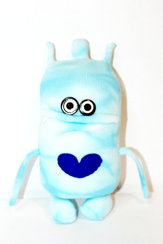 VERM - Cute Blue Sock Monster with Heart