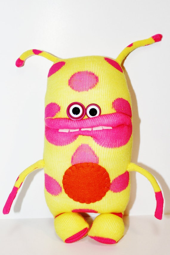 Pink and Yellow Sock Monster, Bright Monster, Pink Spots, JOONIP