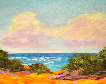 Fine Art Original Oil Painting Impressionist Landscape Hawaii by Rebecca Croft