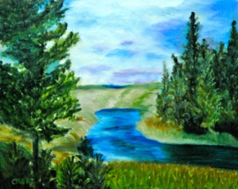 Rebecca Croft Original Oil Painting Yellowstone National Park