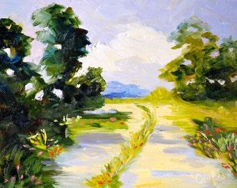 Original Oil Painting Fine Art Impasto Texture Landscape by Rebecca Croft
