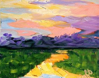 Fine Art Original Oil Painting Impressionistic Landscape Sunset by Rebecca Croft