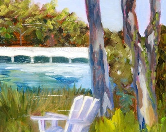 Fine Art by Rebecca Croft Original Oil Impressionist Modern Impasto Painting Beach Landscape