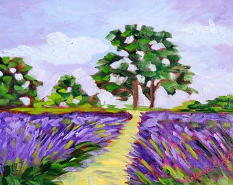 Original Oil Painting Fine Art Impasto Modern Texture French Lavender Fields Provence Landscape by Rebecca Croft