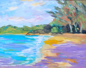 16 x 20 Fine Art Original Oil Painting Impressionist Beach Landscape by Rebecca Croft