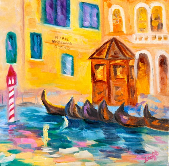 Fine Art Original Oil Painting Impressionist Venice Italy by Rebecca Croft