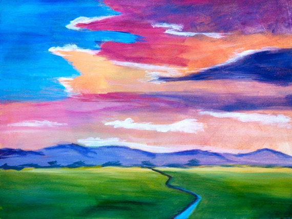 Fine Art by Rebecca Croft Original Acrylic Painting Colorful Sunset Modern Abstract Landscape