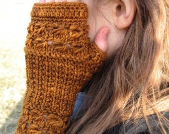 Gold Lace Fingerless Mittens