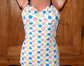 SALE --- was 89 USD --- Lovely 1950s Cotton Halter Swimsuit with Novelty Apple Print from Germany - Very Good Condition - Size M