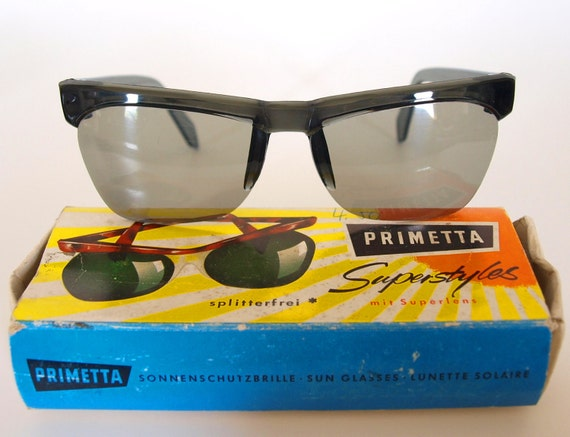 ON SALE --- was 30 --- Cool 1950s  Vintage Sunglasses from Germany by PRIMETTA in Original Box - Unisex