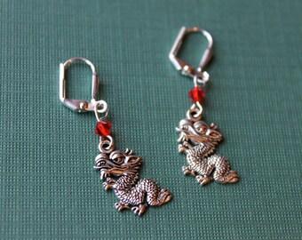 Dragon Earrings with  Light Siam Swarovski Bicone