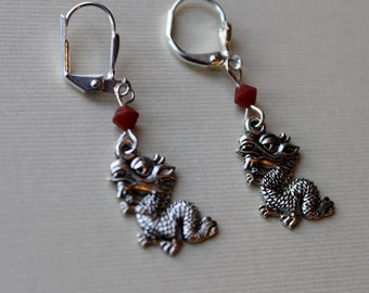 Dragon Earrings with  Daerk Red Coral Swarovski Bicone