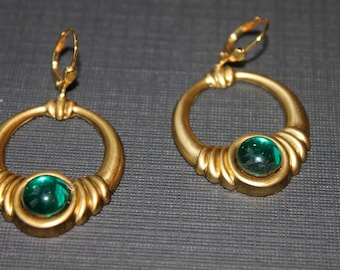 Brass and  Emerald Earrings