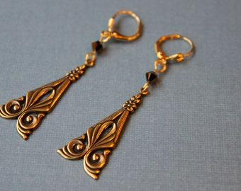 Vintage Gold Plated Brass Art Deco Earrings