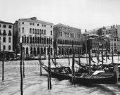 Venice Italy gondolas fine art photograph black and white