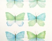 """turquoise blue and green watercolor butterflies original watercolor 11"""" x 14"""""""