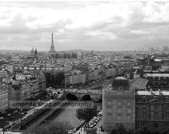 Paris France view of Paris  black & white photograph