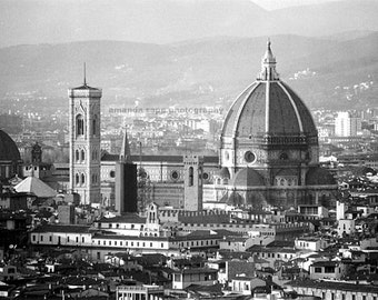 Duomo Florence Italy black and white photograph
