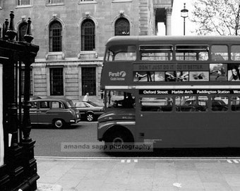 London Double Decker Bus black and white photo