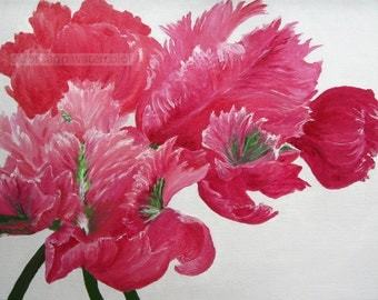 pink parrot tulips watercolor painting archival print