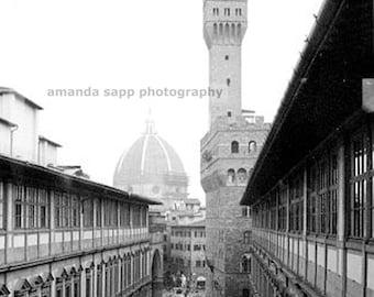 Duomo Florence Italy Uffizi black and white photograph