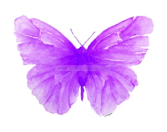 violet butterfly watercolor archival print
