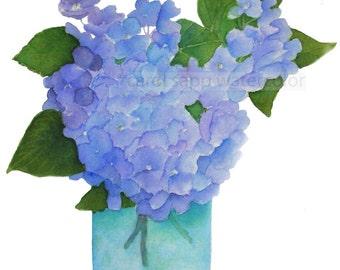 hydrangeas in vase archival print by Carol Sapp