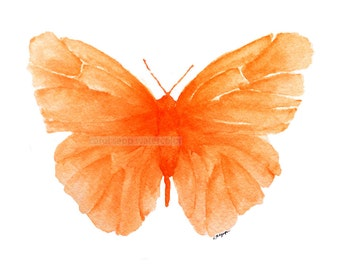 orange butterfly watercolor archival print of painting